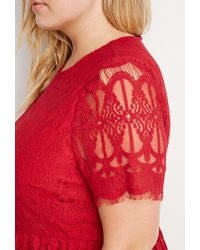 Forever 21 | Red Plus Size Eyelash Lace Fit & Flare Dress | Lyst