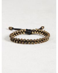 John Varvatos | Black Brass Skull Bead Cord Bracelet for Men | Lyst