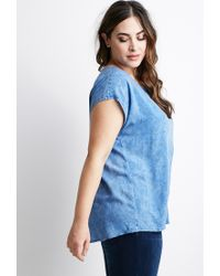 Forever 21 | Blue Plus Size Faded Chambray Top | Lyst