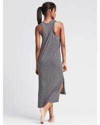 Banana Republic | Gray Slubbed Henley Lounge Dress | Lyst