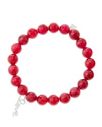 Sydney Evan - 8Mm Faceted Red Agate Beaded Bracelet With 14K White Gold/Diamond Love Charm (Made To Order) - Lyst