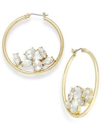 ABS By Allen Schwartz | Metallic Gold-tone Crystal Gyspy Hoop Earrings | Lyst