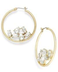 ABS By Allen Schwartz - Metallic Gold-tone Crystal Gyspy Hoop Earrings - Lyst
