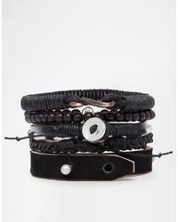 ASOS - Leather Necklace And Bracelet Pack In Black for Men - Lyst