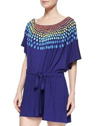 Mara Hoffman - Blue Embroidered Modal Romper Coverup - Lyst