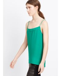 Vince - Green Double Layer Ladder Stitch Silk Cami - Lyst
