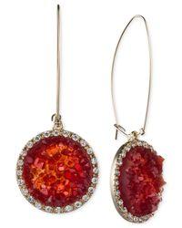 RACHEL Rachel Roy | Gold-tone Red Drusy Round Drop Earrings | Lyst