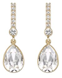 Swarovski - Metallic Attention Gold Tone And Crystal Drop Earrings - Lyst