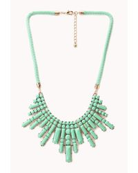 Forever 21 - Green Art Deco Braided Bib Necklace - Lyst