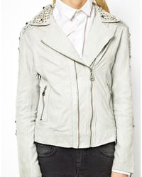 Doma Leather | Gray Moto Leather Jacket with Studs | Lyst