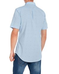 Farah - Blue Thirlby Slim Fit Short Sleeve Gingham Shirt for Men - Lyst