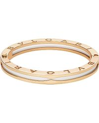 BVLGARI | B.zero1 18kt Pink-gold And White Ceramic Bracelet | Lyst