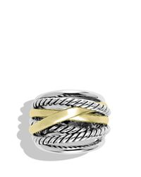 David Yurman - Metallic Crossover Wide Ring With Gold - Lyst