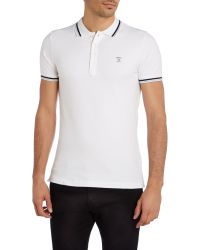 DIESEL | White T-oin Tipped Collar Polo Shirt for Men | Lyst