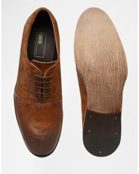 ASOS - Brown Oxford Shoes In Tan Waxed Suede for Men - Lyst