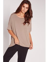 Missguided | Brown Pocket Front Oversize T-shirt Nude | Lyst
