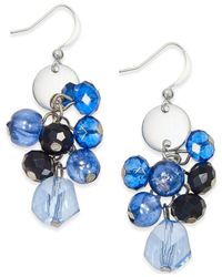 Style & Co. | Silver-tone Blue Jet Bead Cluster Earrings | Lyst