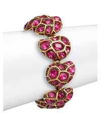 Oscar de la Renta | Purple Bold Swarovski Crystal Station Bracelet/goldtone | Lyst