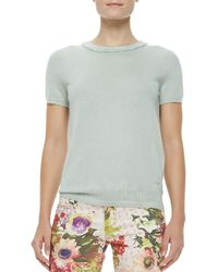 Tory Burch | Michaela Shortsleeve Cashmere Sweater Desert Green | Lyst