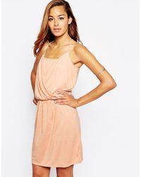 ASOS - Natural Grecian Wrap Front Mini Dress - Lyst