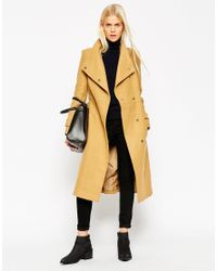 ASOS | Gray Tall Coat With Funnel Neck And Belt | Lyst