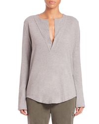 James Perse - Gray Open Henley Jersey Top - Lyst