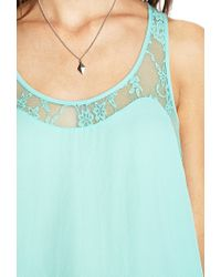 Forever 21 | Blue Georgette Lace Tank | Lyst