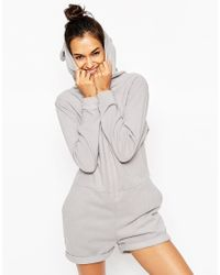 ASOS | Gray Onesie Playsuit In Cosy Fleece | Lyst