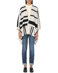 360cashmere | Black Waverly Striped Cashmere Poncho | Lyst