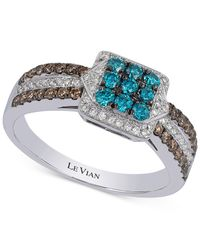 Le Vian | Blue Chocolate And White Diamond Ring (5/8 Ct. T.w.) In 14k White Gold | Lyst