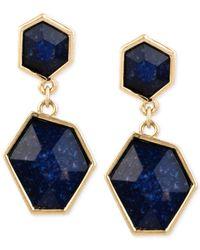 Kenneth Cole | Gold-tone Blue Stone Double Drop Earrings | Lyst