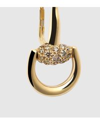 Gucci - Metallic Gold Horsebit Earrings With Diamonds - Lyst
