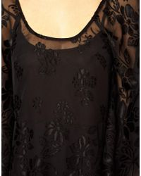 ASOS   Black Burnout Devore Kimono Dress   Lyst
