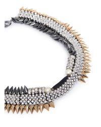 Venna | Metallic Crystal Pavé Strass Spike Collar Necklace | Lyst