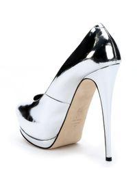 Giuseppe Zanotti - Black Silver Metallic Leather 'sharon 105' Peep Toe Platform Pumps - Lyst