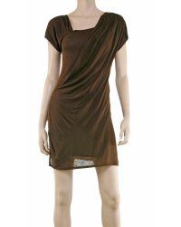 Leon Max - Brown Draped Dress - Lyst