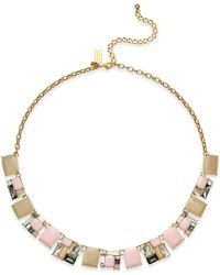 kate spade new york | Metallic Gold-tone Mixed Stone Necklace | Lyst