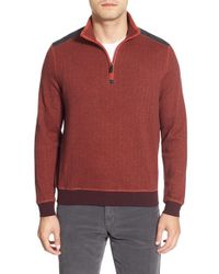 Bugatchi | Red Knit Quarter Zip Mock Neck Pullover for Men | Lyst