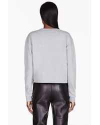 McQ | Gray Heathered Grey Embroidered Rose Sweater | Lyst