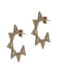 House of Harlow 1960 - Metallic Geodesic Triangle Mini Hoops - Lyst