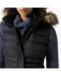 Tommy Hilfiger | Black Down Hooded Gilet | Lyst