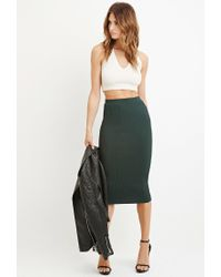 Forever 21 | Green Contemporary Ribbed Knit Pencil Skirt | Lyst