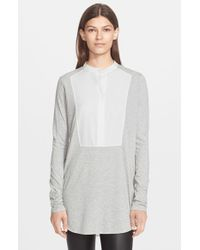 Vince - Gray Tuxedo Inset Mixed Media Top - Lyst