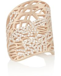Repossi | Metallic Art Nouveau 18karat Rose Gold Diamond Phalanx Ring | Lyst