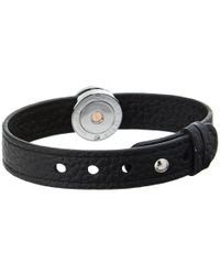 Philip Stein - Leather Horizon Doublewrap Bracelet Blackstainless - Lyst