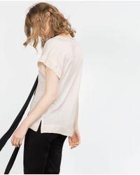 Zara | Pink V-neck T-shirt | Lyst