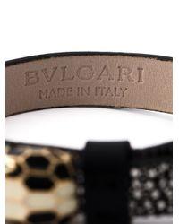 BVLGARI - Black Leather Snake Bracelet - Lyst