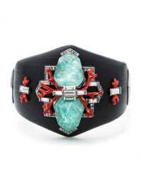 Alexis Bittar | Black Coral Deco Crystal Baguette Hinged Bracelet | Lyst