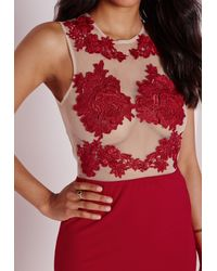 Missguided - Multicolor Applique Floral Mesh Bodycon Dress Red - Lyst