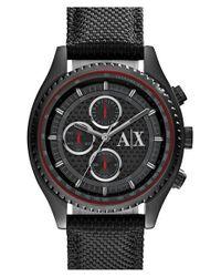 Armani Exchange - Black Chronograph Woven Strap Watch for Men - Lyst